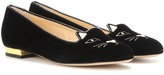 Charlotte Olympia Kitty Flat Velvet Slippers