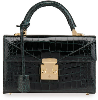 Stalvey Glossy Alligator 2.5 Small Top-Handle Bag, Green