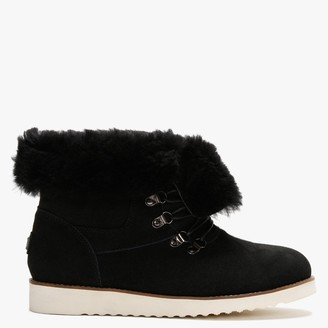 Australia Luxe Collective Yael Black Double-Face Sheepskin Lace Up Boots