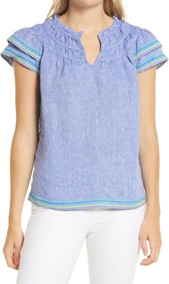 Vineyard Vines Cross Dyed Embroidered Linen Top