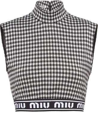 Miu Miu Gingham-Check Crop Top
