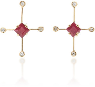 Yi Collection 18K Gold, Ruby And Diamond Earrings