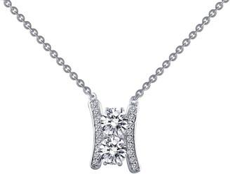 Lafonn Platinum Plated Sterling Silver Prong Set Diamond & Pave Curved Bar Pendant Necklace
