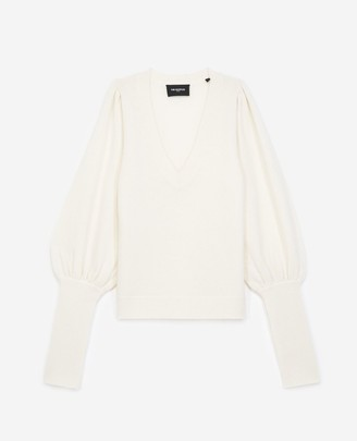 The Kooples Ecru sweater in wool/cashmere with V-neck