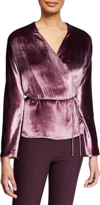 Vince Panne Long-Sleeve Velvet Wrap Top