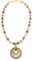 Jose & Maria Barrera Gray & Peach Agate Medallion Necklace