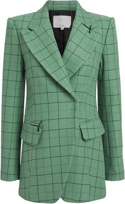 Tibi Peak Lapel Tailored Windowpane Blazer