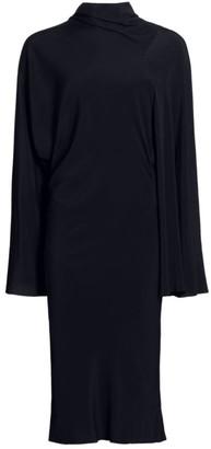 Rick Owens Seb Stretch-Silk Asymmetric Wide-Sleeve Dress