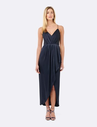 Forever New Lotte Satin Drape Maxi Dress - Navy - 16