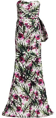 Badgley Mischka Floral Mikado Strapless Column Gown