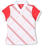 adidas Kids - Fashion Performance Contrast Plaid Printed Polo (Big Kids) (White/Electric/Icing) - Apparel