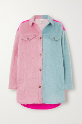 MUNTHE Emily Oversized Color-block Mohair-blend Jacket - Bright pink