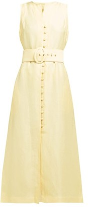 Cult Gaia Gia Button-front Linen-blend Dress - Light Yellow