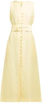 Cult Gaia Gia Button-front Linen-blend Dress - Womens - Light Yellow