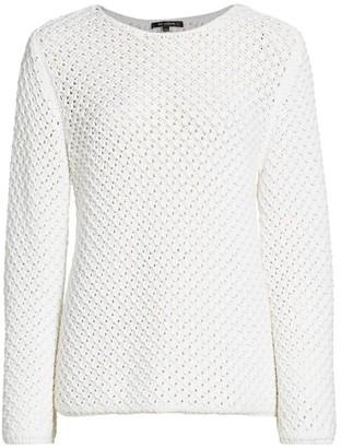 St. John Open Weave Bell-Sleeve Knit Sweater