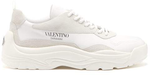 Valentino Gumboy Chunky Leather And Suede Trainers - Mens - White