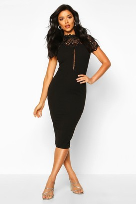 boohoo High Neck Lace Trim Midi Dress