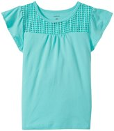 Carter's Flutter Sleeve Knit Top (Toddler/Kid) - Turquoise - 5