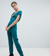 New Look knot front jumpsuit in green