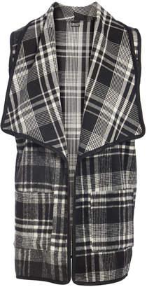 Lvs Collections LVS Collections Women's Outerwear Vests WHITE - Black & White Plaid Shawl-Collar Pocket Longline Open Vest - Women