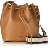N°21 Brown Leather Bucket Bag w/Canvas Shoulder Stap