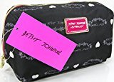 Betsey Johnson New Logo Cosmetics Make-up Case Bag Black White Hearts E/W Cosmo