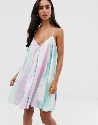 Asos Design DESIGN mini trapeze dress in tie dye satin-Multi