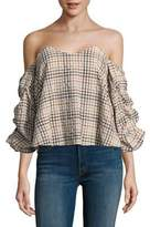 Caroline Constas Gabriella Off-Shoulder Check Top