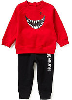 Hurley Baby Boys 12-24 Months Sharkbait Fleece Tee & Solid Pants Set