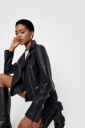 Nasty Gal Womens Faux Leather Moto Jacket with Asymmetric Zip Closure - Black