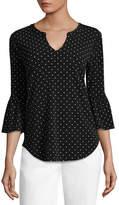 Liz Claiborne 3/4 Sleeve U Neck Dots T-Shirt-Womens - Tall