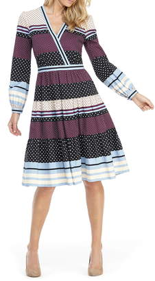 Gal Meets Glam Dakota Mixed Print Long Sleeve Fit & Flare Dress