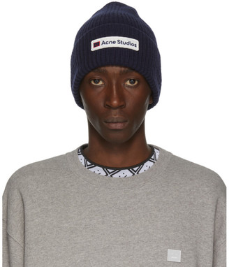 Acne Studios Navy Logo Patch Beanie