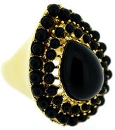 Kenneth Jay Lane Jet Black Resin and Gold Teardrop Ring