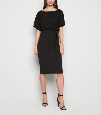 New Look Missfiga Glitter Batwing Midi Dress