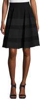 Neiman Marcus Tonal Stripe-Print Skirt, Black/Charcoal