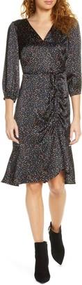 Sam Edelman Colorful Dot Ruched Satin Dress