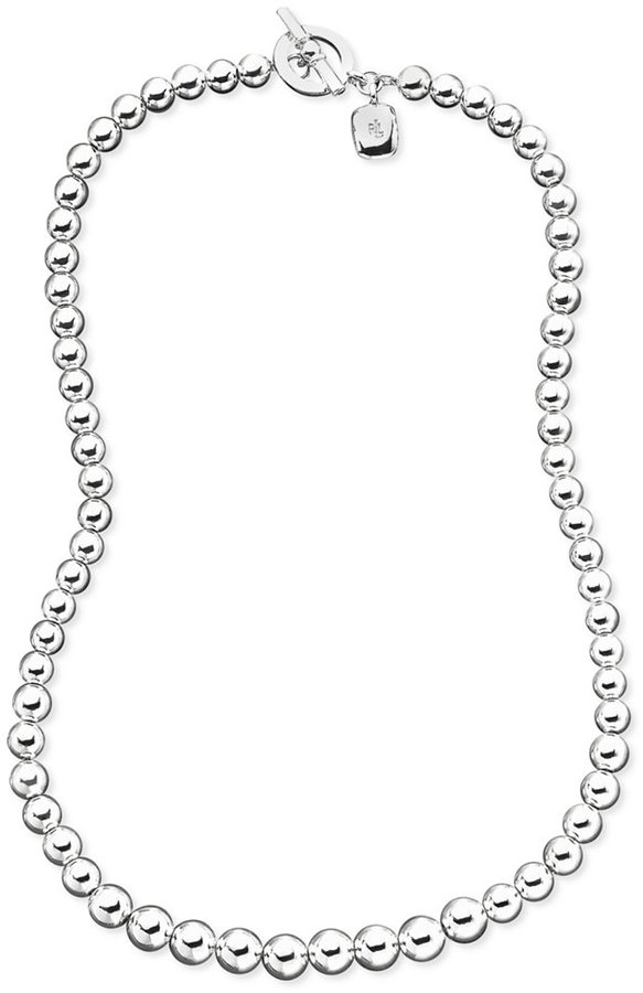 Lauren Ralph Lauren Graduated Silver-Tone Bead Toggle Necklace
