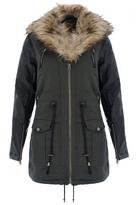 Quiz Khaki Canvas Faux Fur Hood Jacket