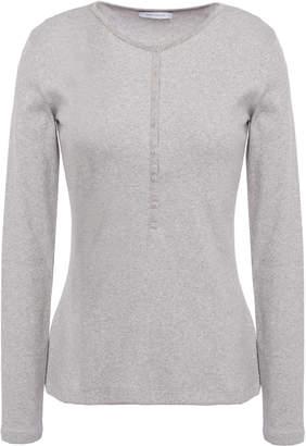 Ninety Percent Metallic Ribbed Cotton-blend Jersey Top