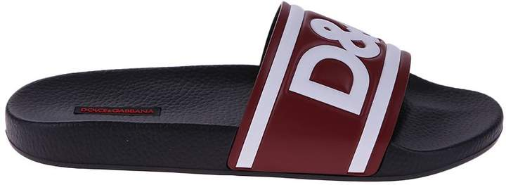 Dolce & Gabbana Black And Red Logo Sandals