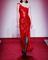 Naeem Khan Beaded One-Shoulder Gown with Side Slit, Red