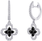 Katarina and White Diamond Huggie Earrings with Floral Danglers in 10K White Gold (3/4 cttw)