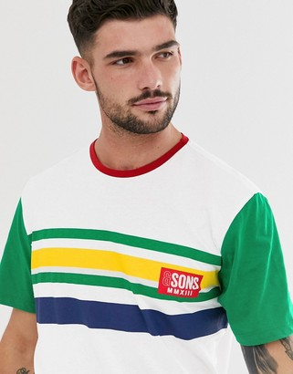 ONLY & SONS logo color block stripe t-shirt in white