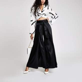 River Island Womens Black wide split leg tie waist trousers