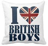 Miss Gaga Athletic I Love British Boys Union Jack Throw Pillow Case