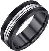 Men's Brushed 2-Tone Tungsten 8mm Wedding Band by Ax Jewelry