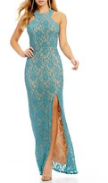 Jodi Kristopher Racer Neckline Lace Long Dress
