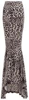 Norma Kamali Leopard-print Jersey Fishtail Maxi Skirt - Womens - Grey Print