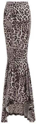 Norma Kamali Leopard-print Jersey Fishtail Maxi Skirt - Grey Print